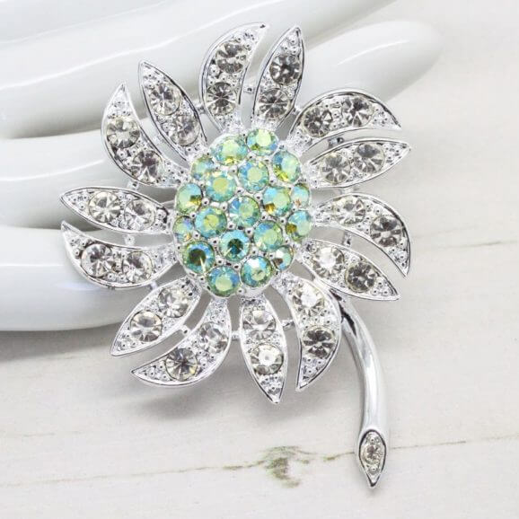 1960s Silver & Lime Mountain Flower Sarah Coventry Brooch
