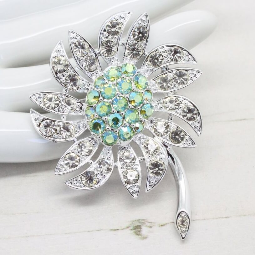 1938a2a6a 1960s Silver & Lime Mountain Flower Sarah Coventry Brooch - QB Vintage