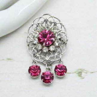 1980s Sarah Coventry Silver Pink Rhinestone Vintage Drop Brooch
