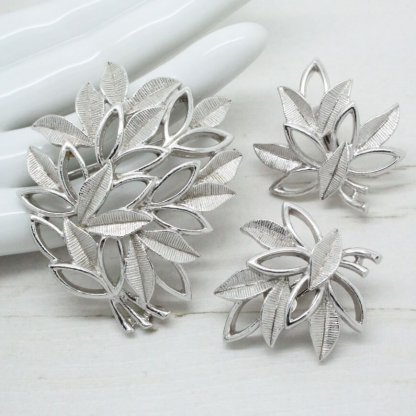 Sarah Coventry Silver Leaf Bouquet Bridal Jewellery Set