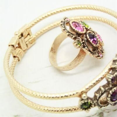 Austrian Lights Bangle & Ring Vintage Sarah Coventry Set