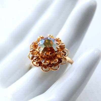 Vintage Sarah Coventry Gold Plated Crystal Ring