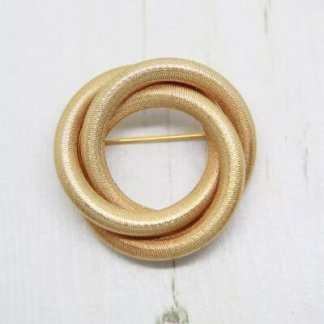 1960s Sarah Coventry Brushed Gold Circle Brooch