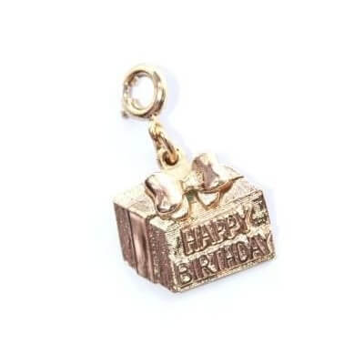 Happy Birthday Present Sarah Coventry Gold Tone Charm