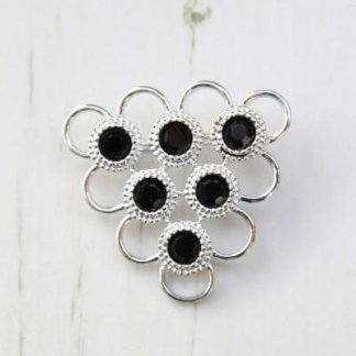 1976 Retro Sarah Coventry Black Charmer Silver Brooch