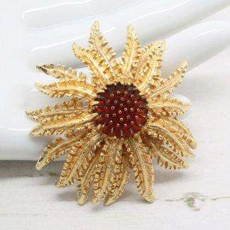 Vintage Goldtone Cosmopolitan Amber Floral Sarah Coventry Brooch