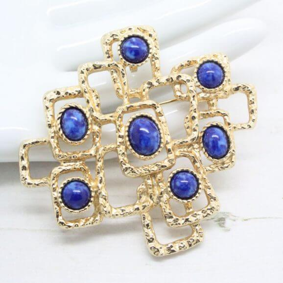 Sarah Coventry Lapis Lazuli Textured Modernist Brooch