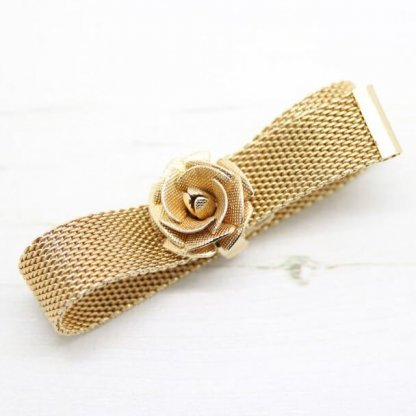 Golden Vintage Rose Sarah Coventry Mesh Style Bracelet