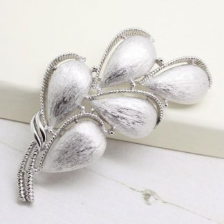 Large Signed Crown Trifari Floral Silver Brooch