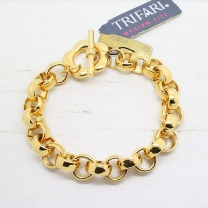 Signed Vintage Trifari Flower T Bar Gold Bracelet