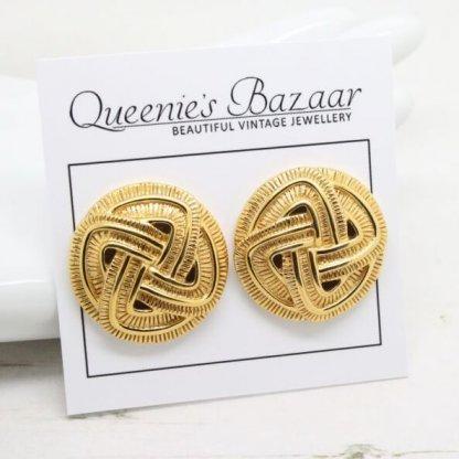 Vintage Napier Textured Design Golden Disc Earrings (Pierced)
