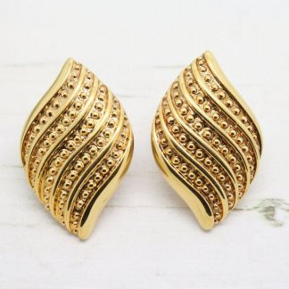 Vintage Jewellery Signed Napier Dot Textured Gold Plated Earrings (Pierced)