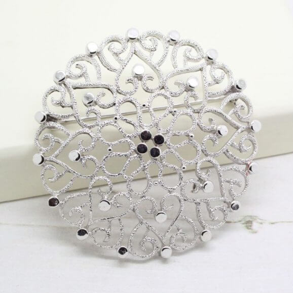 Statement Crown Trifari Large Textured Silver Brooch
