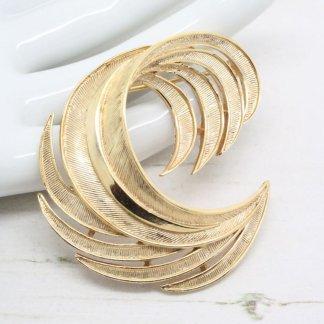 Crown Trifari Golden Swirl Vintage Brooch Pin