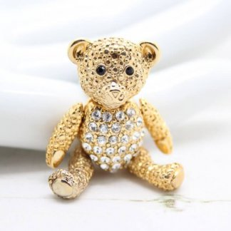 Teddy Bear Articulated Vintage Designer Napier Brooch Pin