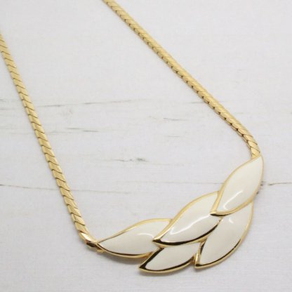 1980s Vintage Signed Napier Cream Enamel Gold Necklace
