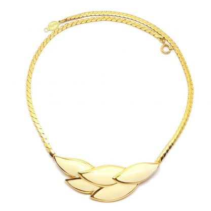 1980s Vintage Napier Cream Enamel Gold Necklace