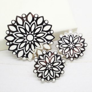 Ornate Trifari Silver and White Enamel Brooch Earrings Demi Parure