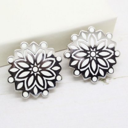 Ornate Trifari Silver and White Enamel Brooch Earrings Demi Parure