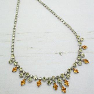 1960s Lemon Yellow & Orange Rhinestone Crystal Necklace