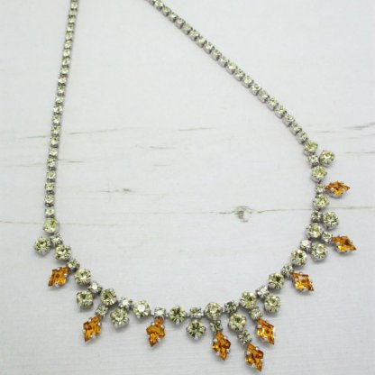1960s Lemon Yellow & Orange Rhinestone Crystal Necklace