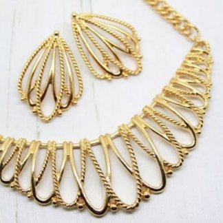 1980s Vintage Statement Gold Bib Necklace Earring Set