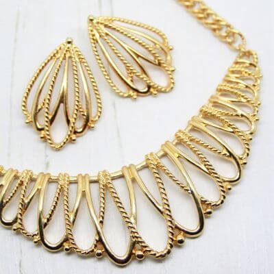 1980s Vintage Statement Gold Bib Necklace Earring Set