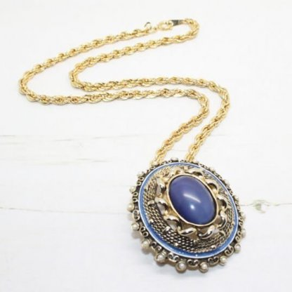 Arcansas Blue Cabochon and Faux Pearl Ornate Pendant Necklace