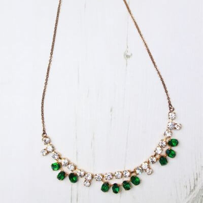 Delicate Green and White Rhinestone 1950s Vintage Gold Tone Necklace
