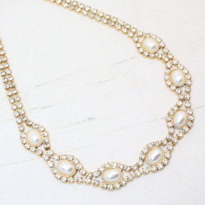 Delicate Vintage Crystal and Pearl Collar Necklace