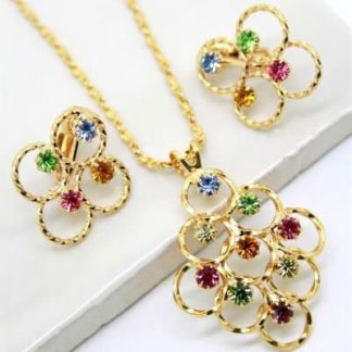 Vintage Pastel Rhinestone Loops Earring Necklace Set
