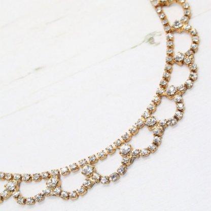 Delicate Vintage Crystal Ornate Golden Swag Necklace
