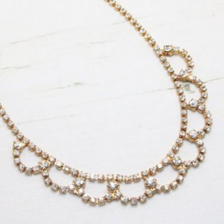 Delicate Vintage Crystal Ornate Golden Swag Necklace