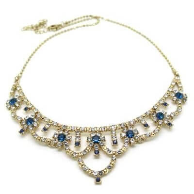 Vintage Inspired Floral Royal Blue Evening Wedding Diamante Necklace