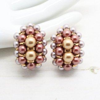 Joan Rivers Metallic Glossy Pearl and Crystal Clip On Earrings