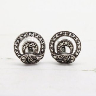 1930s - 1940s Vintage Sterling Silver Marcasite Art Deco Fan Style Clip On Earrings