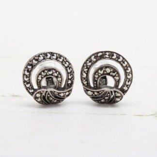1930s - 1940s Vintage Sterling Silver Marcasite Art Deco Fan Style Clip On Earrings