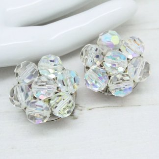Beautiful Signed Made Austria Vintage Crystal Cluster Clip On Earrings