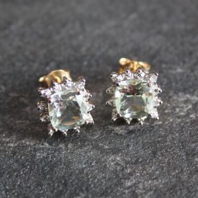 Diamond & Green Amethyst Gold Vintage Inspired Earrings