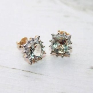 Diamond & Green Amethyst Gold Vintage Inspired Earrings
