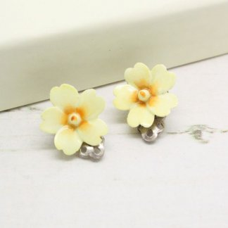Porcelain Yellow Cream Flower Clip On Sterling Silver Earrings