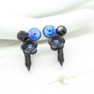 Signed Givenchy Floral Blue Rivoli Japanned Clip Earrings