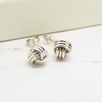 Sterling Silver 8mm 3-Strand Wrapped Knot Stud Earrings