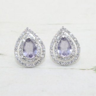Sterling Silver Cubic Zirconia Lilac Pear Shape Earrings