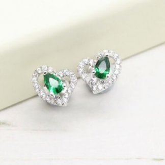 Sterling Silver Green Cubic Zirconia Heart Earrings