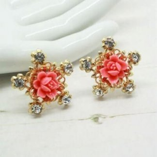 Vintage 1940s 1950s Filigree Peach Flower Earrings