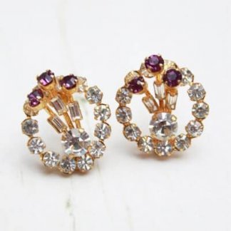 Vintage 1940s Royal Purple Baguette Cut Diamante Vintage Earrings