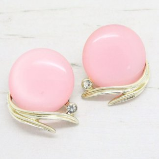 Vintage 1950s Signed Lisner Pink Earrings