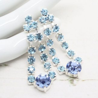 Vintage Aqua Blue Rhinestone Chandelier Dangle Earrings