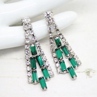 Vintage Emerald Green Baguette Rhinestone Art Deco Drop Earrings
